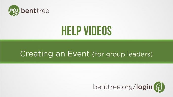 Creating an Event (for group leaders) | Help Videos